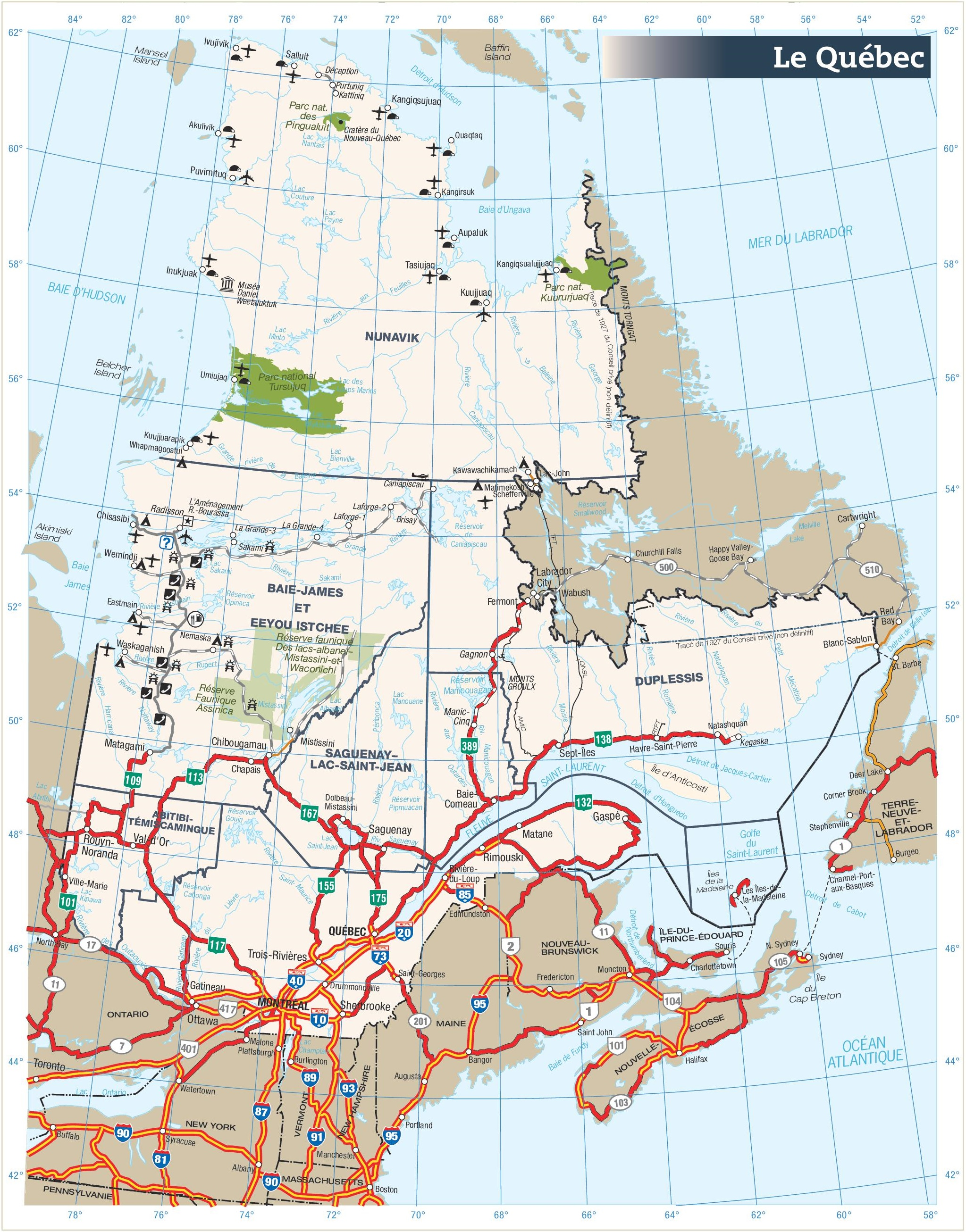 quebec road map. quebec province maps  canada  maps of quebec (qc)