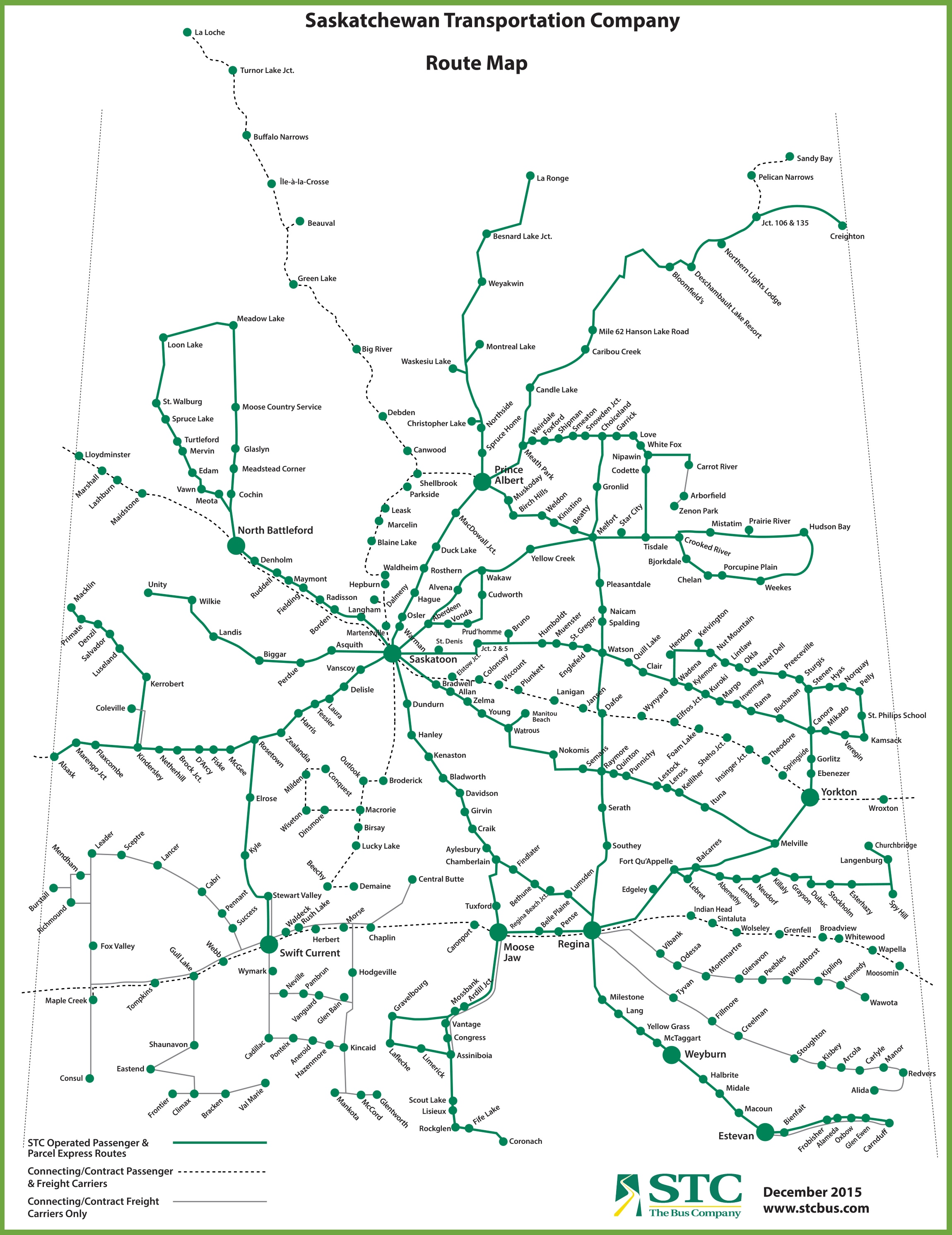 Saskatchewan bus map