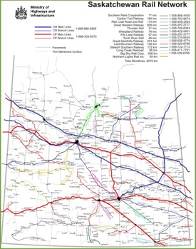 Saskatchewan rail map
