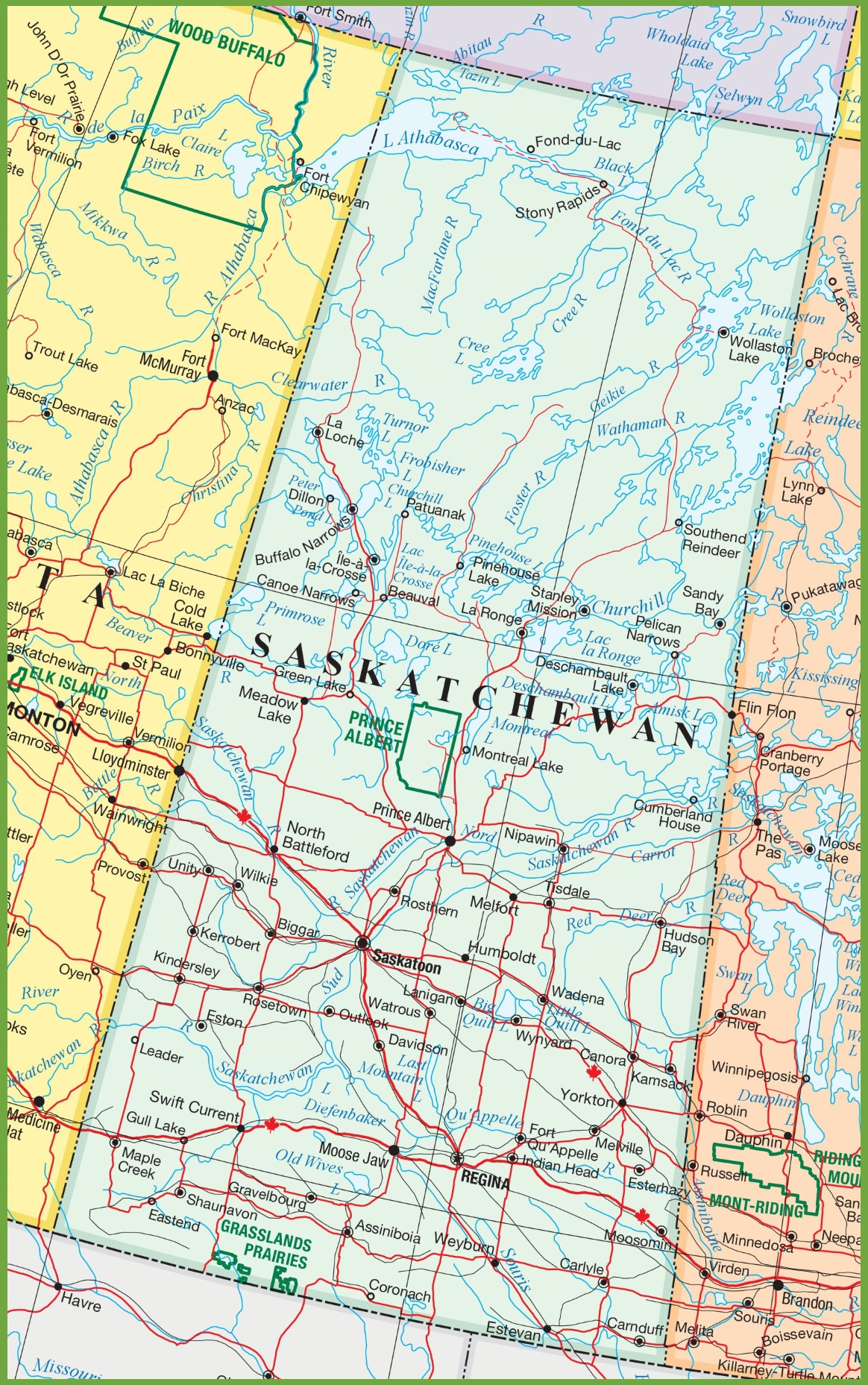 Saskatchewan Road Map Saskatchewan road map