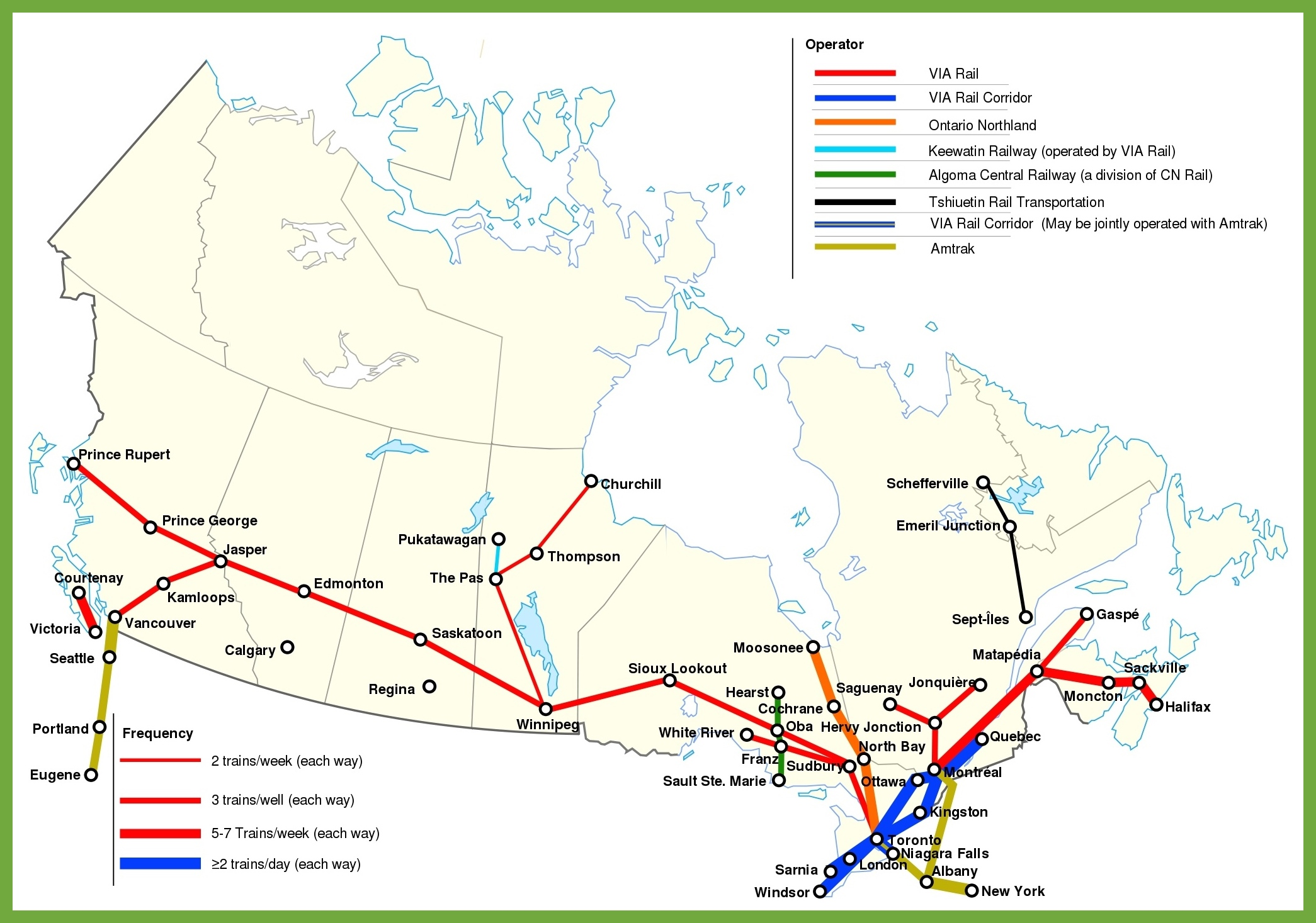 Canada Rail Map Railway map of Canada
