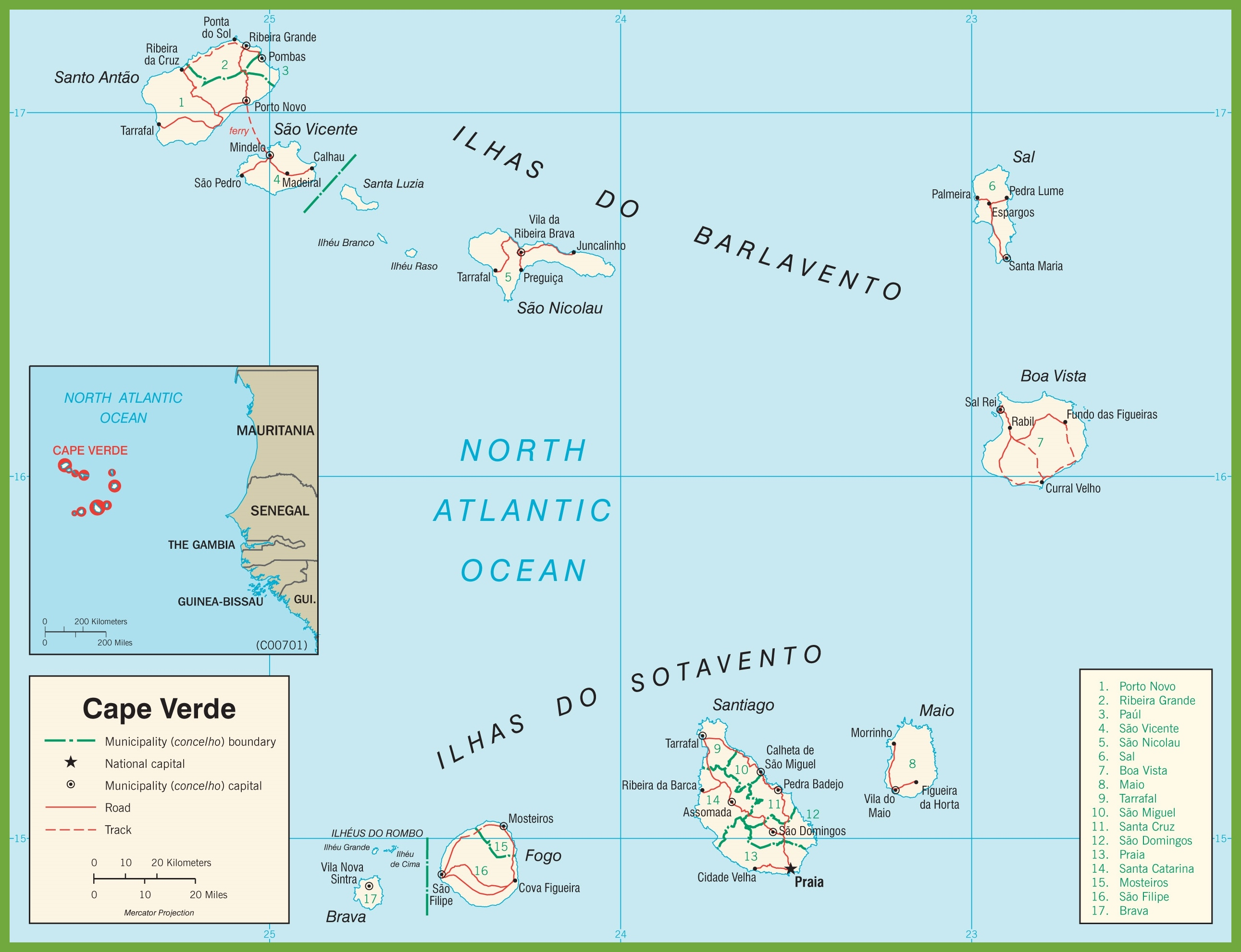 Cape Verde Political Map - Cape verde map