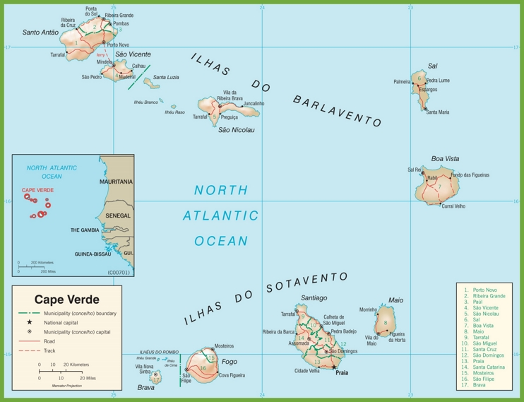Large detailed cape Verde Road map