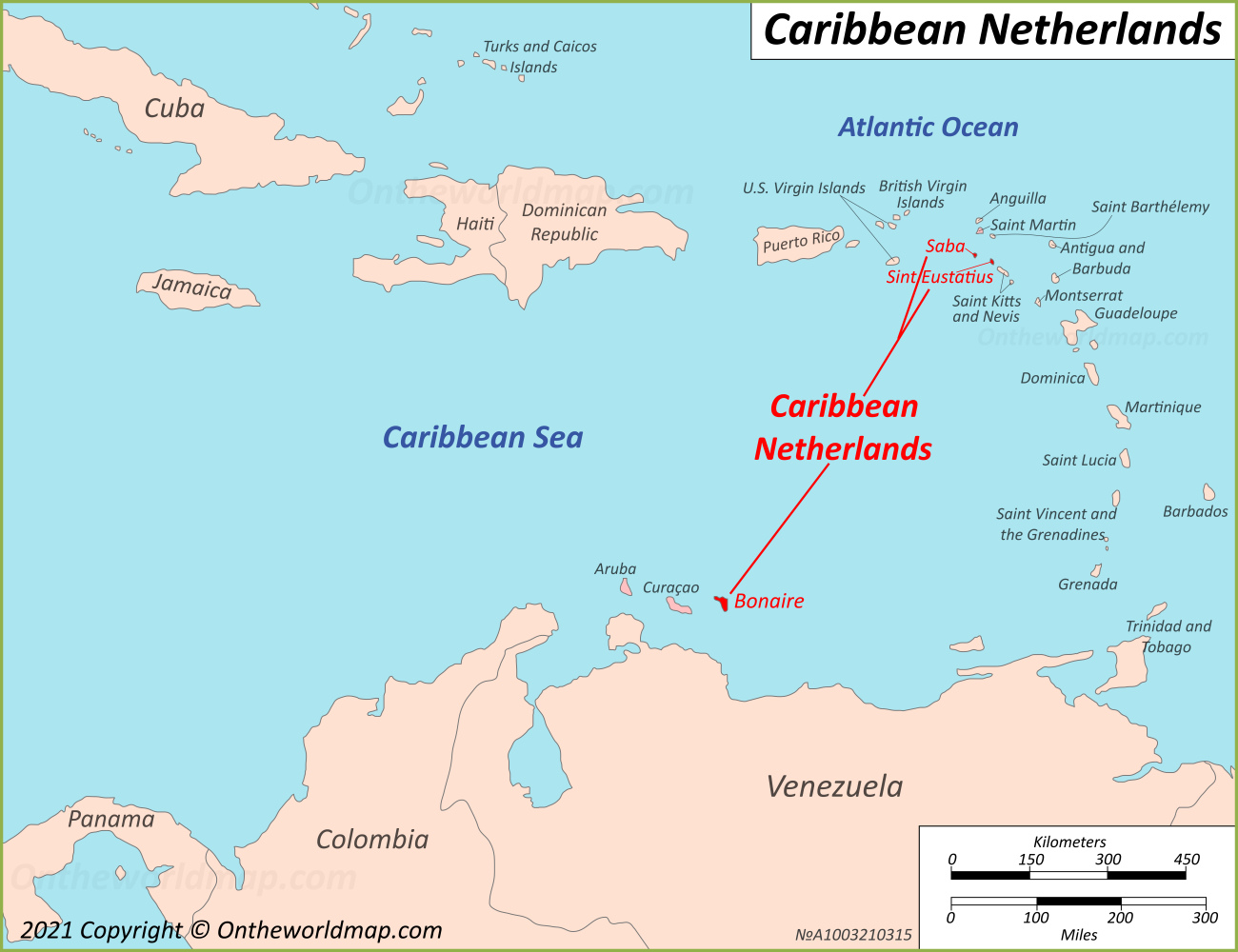 Map of Caribbean Netherlands