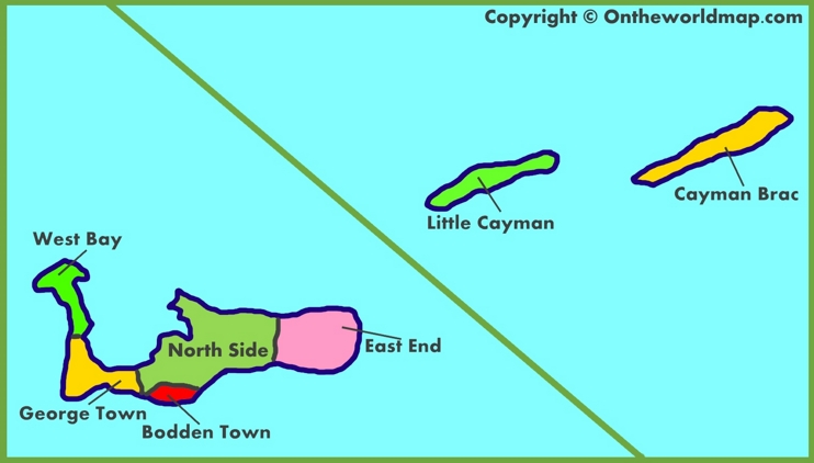 Administrative map of Cayman Islands