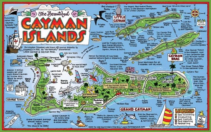 Cayman Islands tourist map