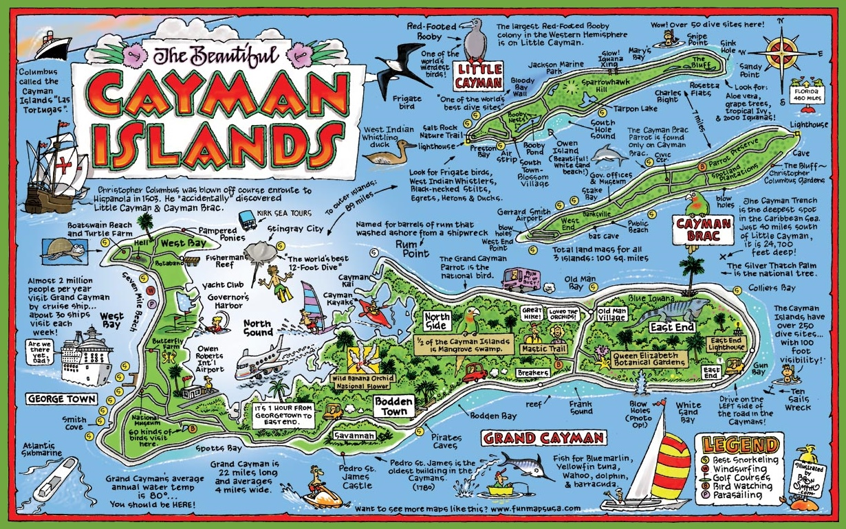 Cayman Islands Map Cayman Islands tourist map Cayman Islands Map