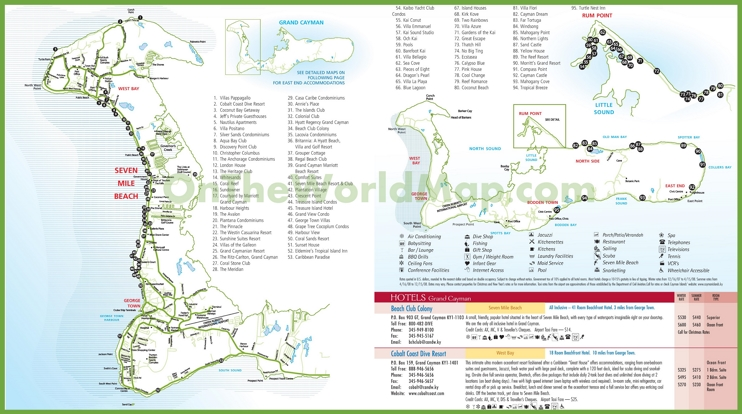 Large detailed Cayman Islands hotel map