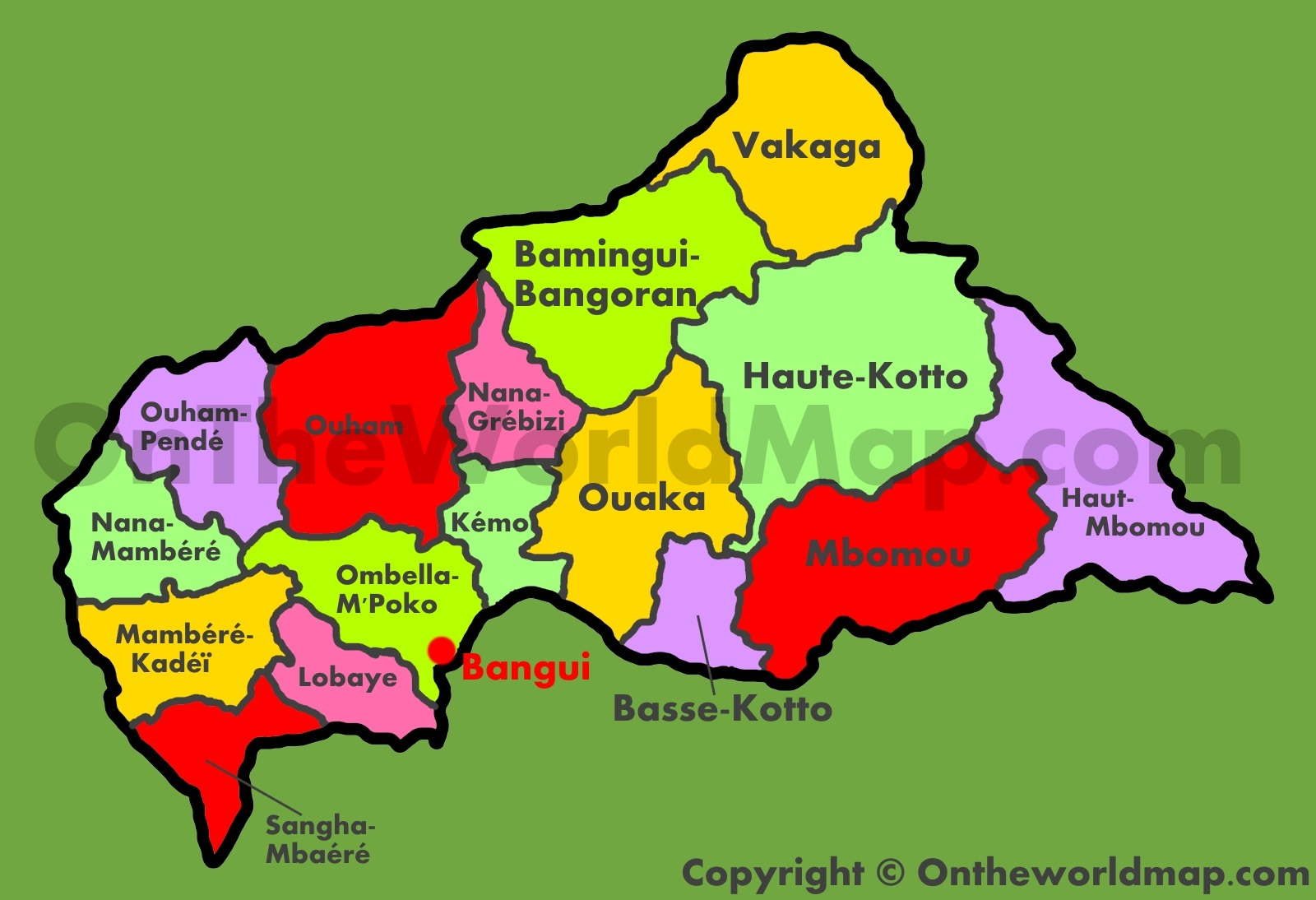 Administrative map of Central African Republic on