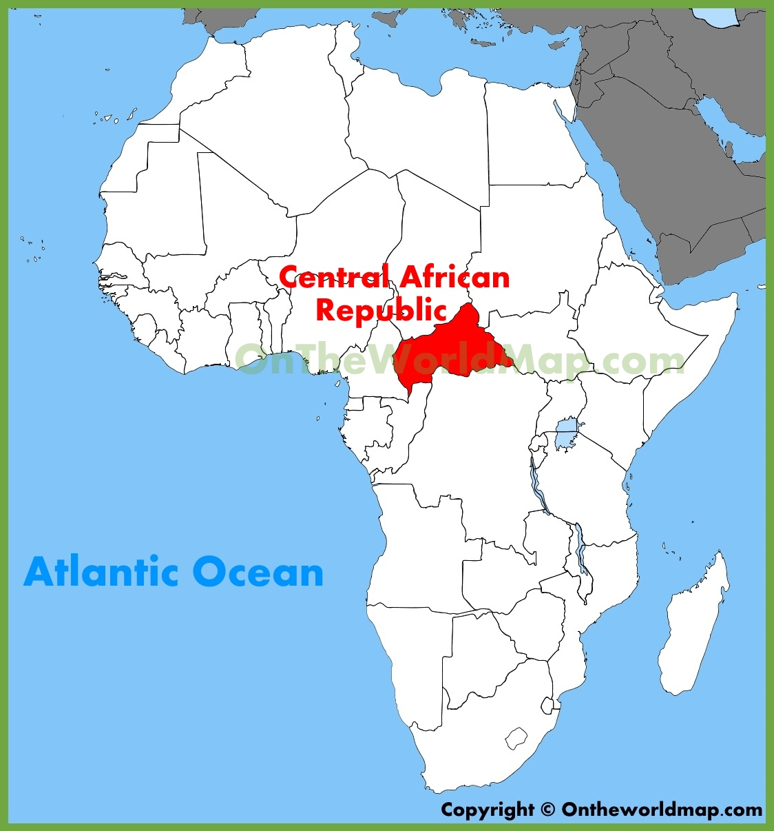 Central African Republic location on the Africa map