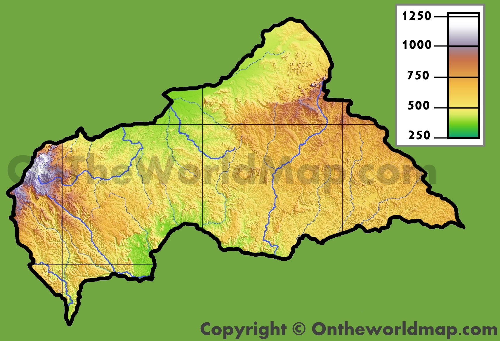 Central African Republic Physical Map - Central africa map