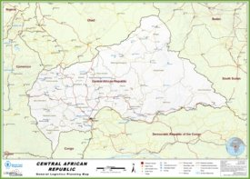 Large detailed road map of Central African Republic
