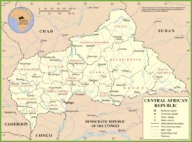 Political map of Central African Republic