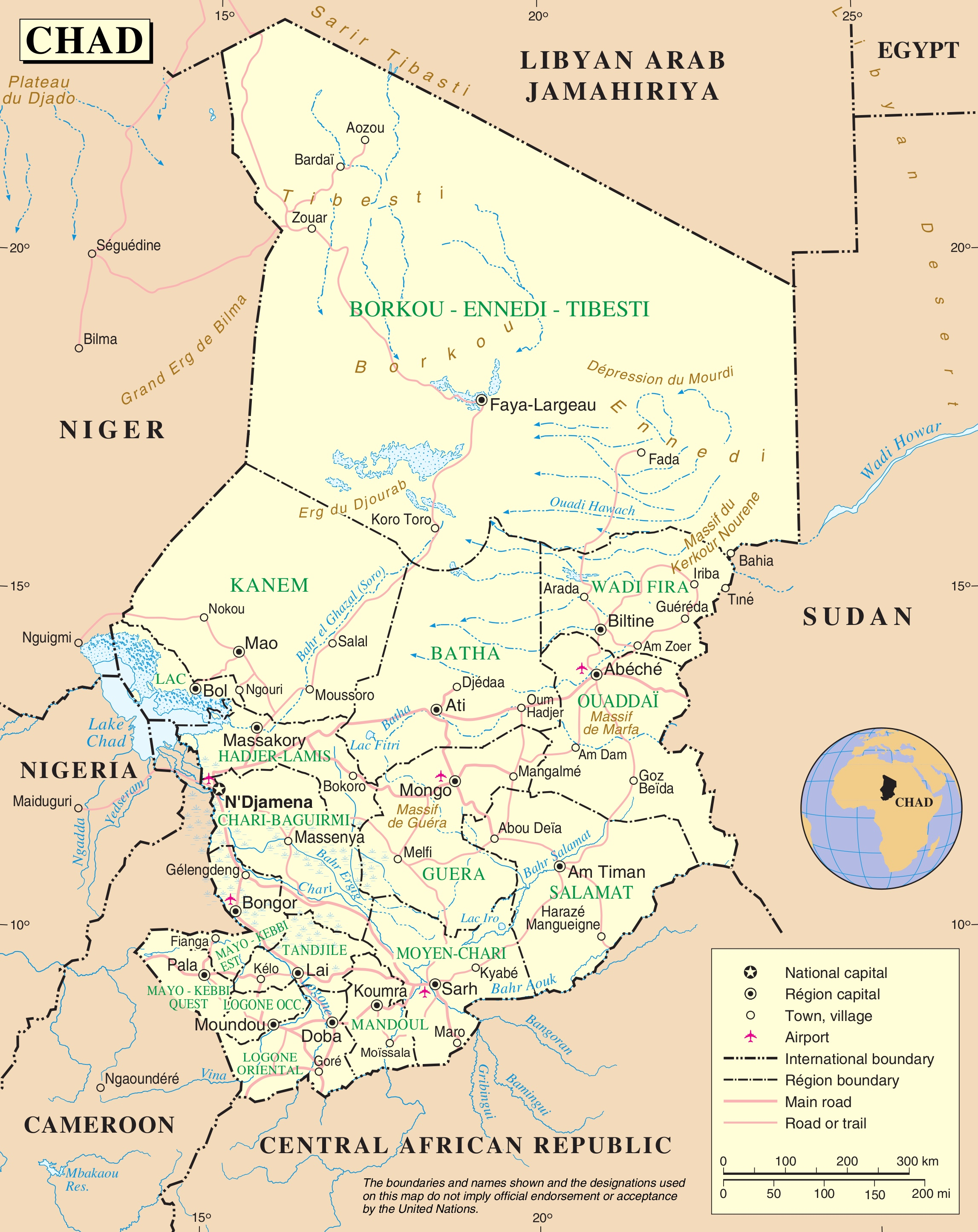 Large detailed road map of Chad