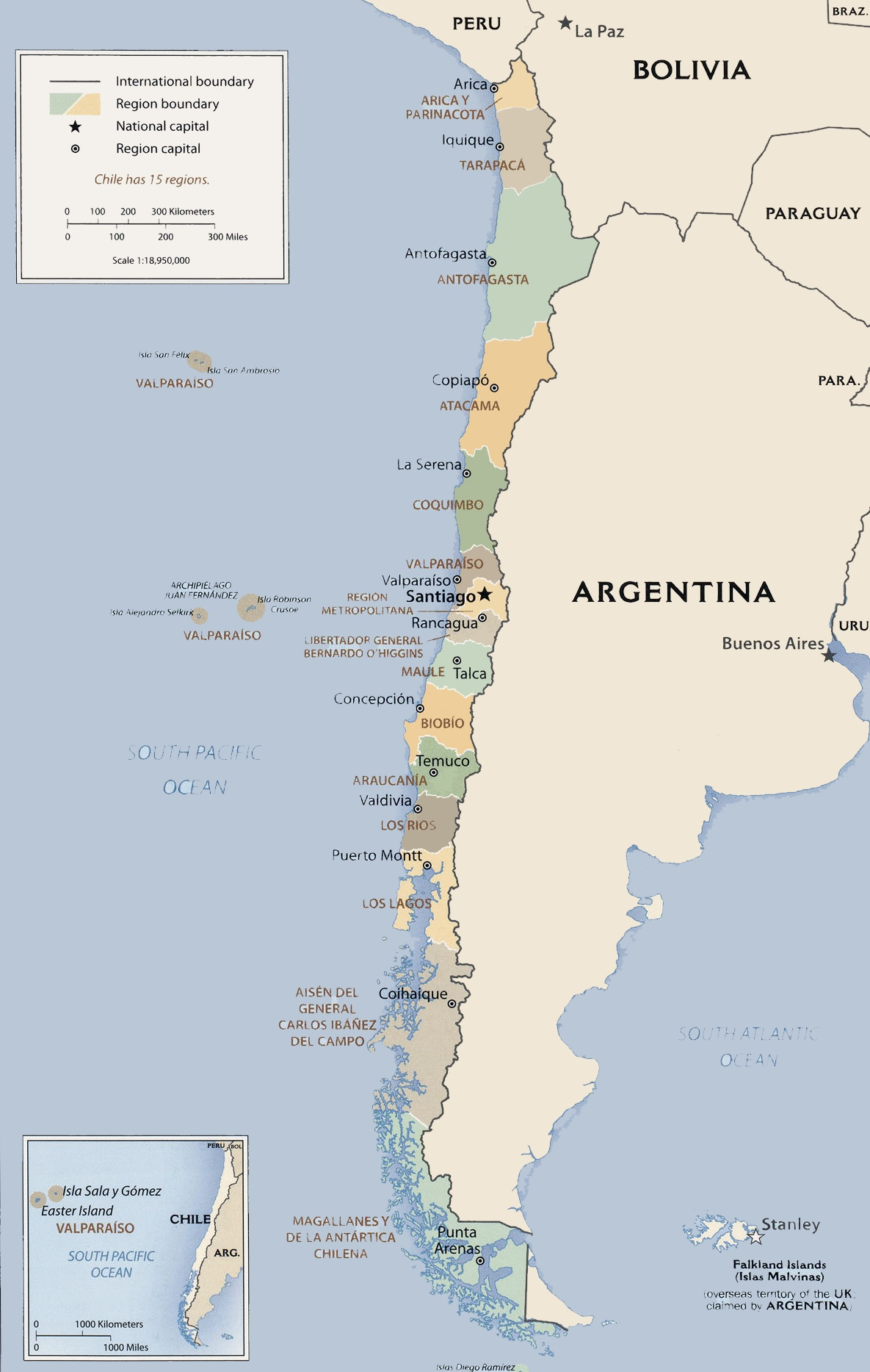 Chile Political Map - Map of chile