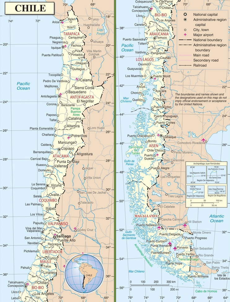 Large detailed road map of Chile