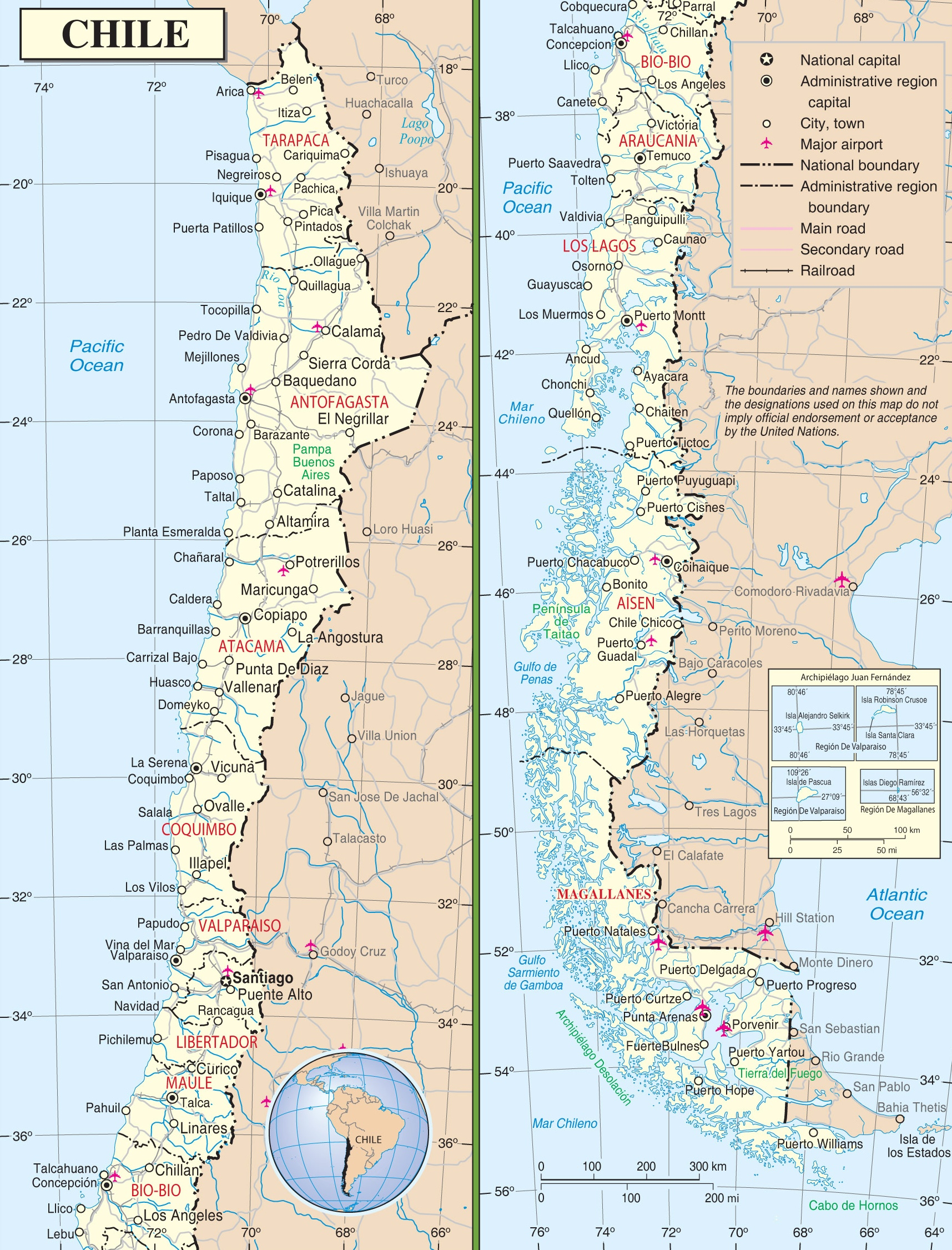 Map Of Chili Large detailed road map of Chile Map Of Chili