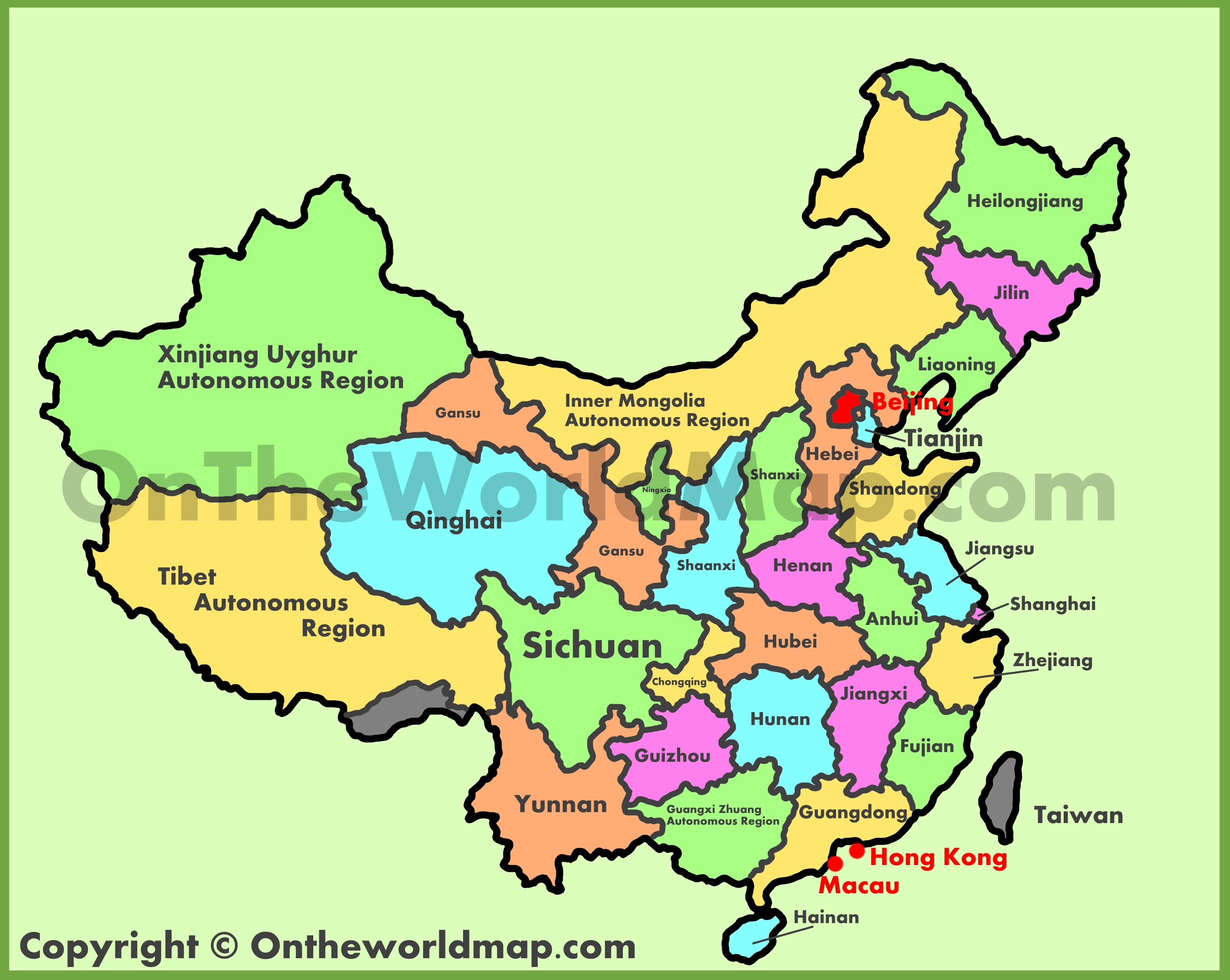 A Map Of China Administrative map of China A Map Of China
