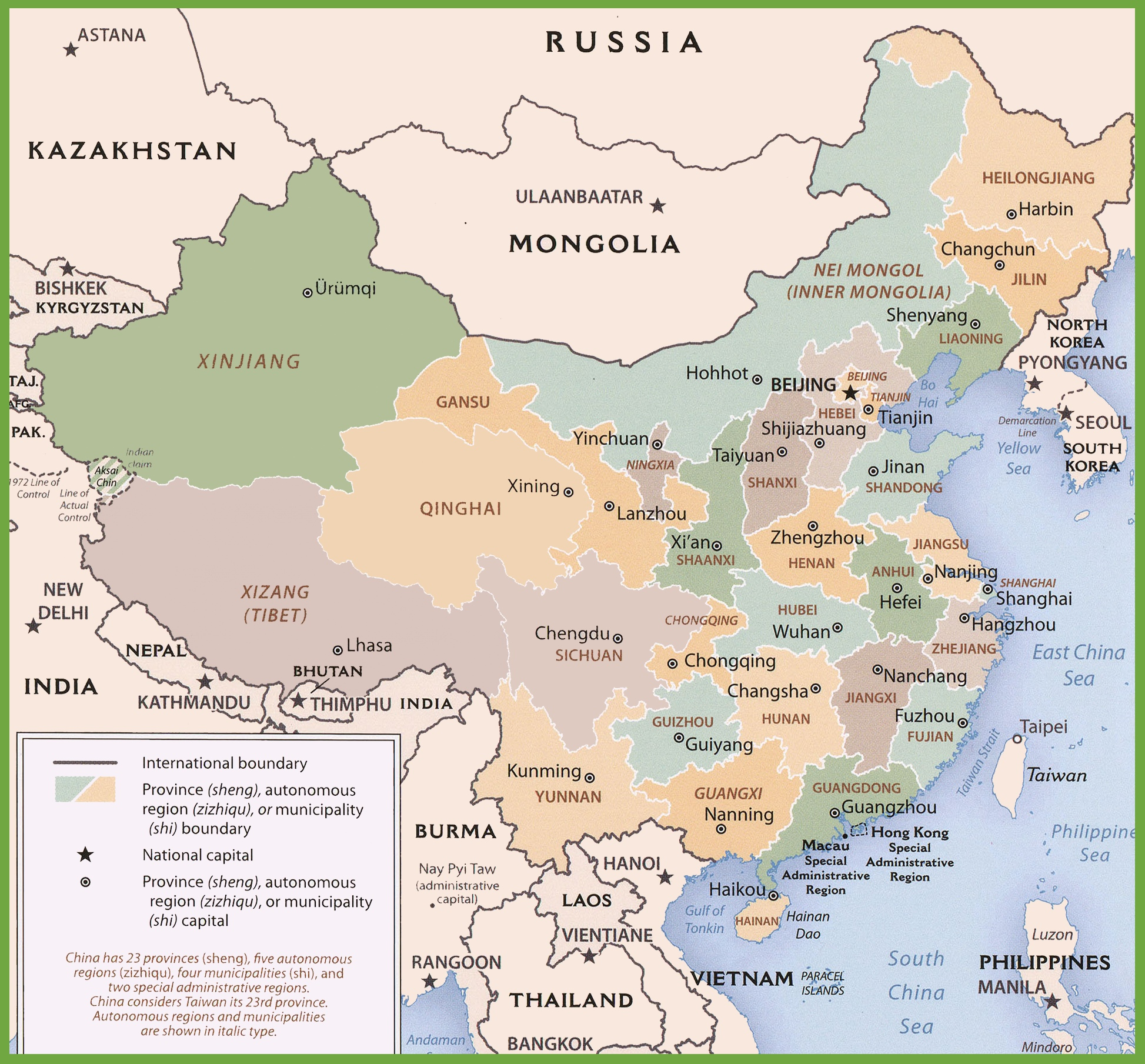 China Political Map - China map