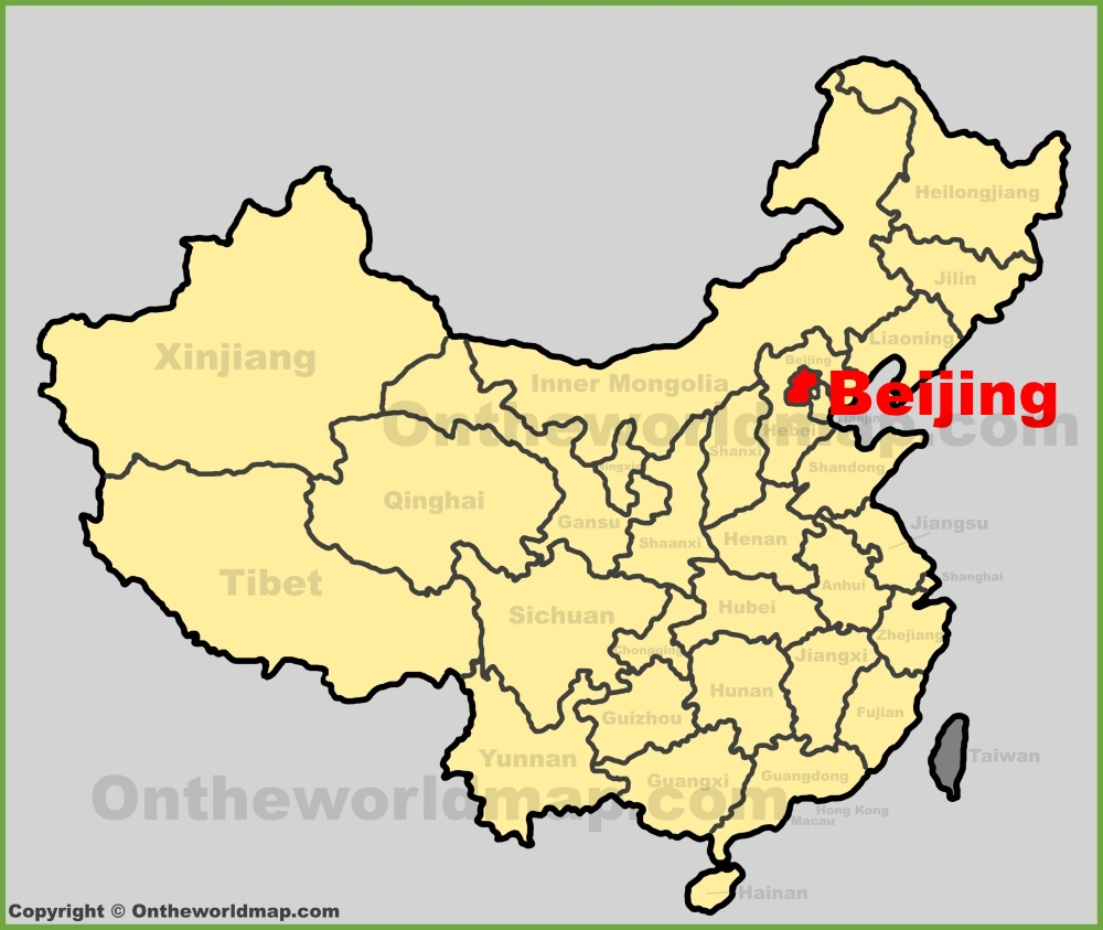 Beijing location on the China map