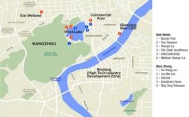 Hangzhou hotels and restaurants map