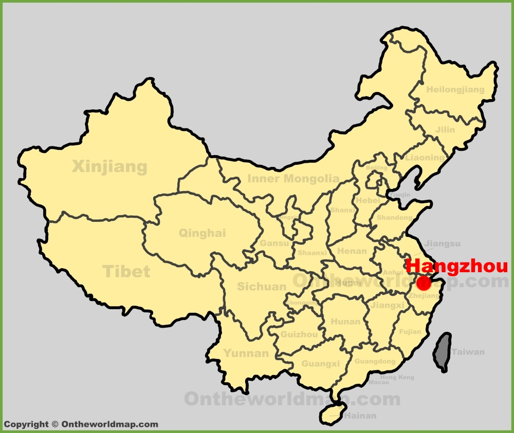 Hangzhou location on the China map