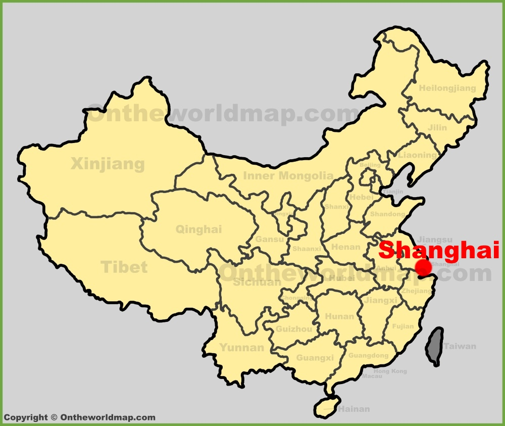Shanghai location on the China map