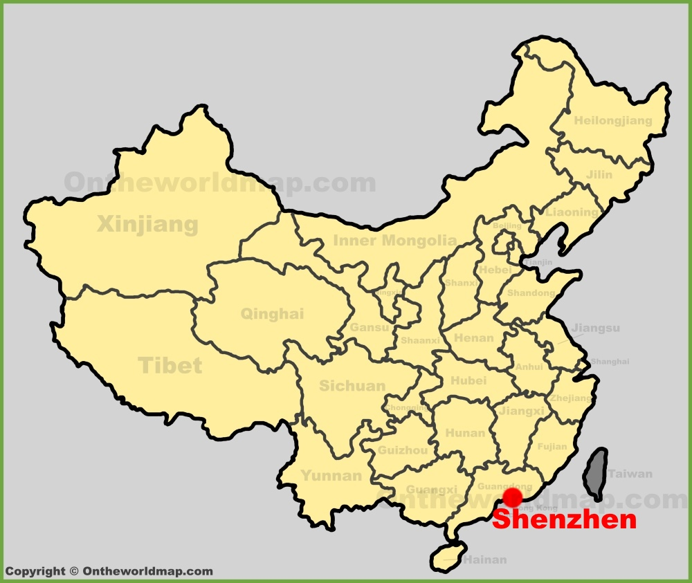 Shenzhen location on the China map on