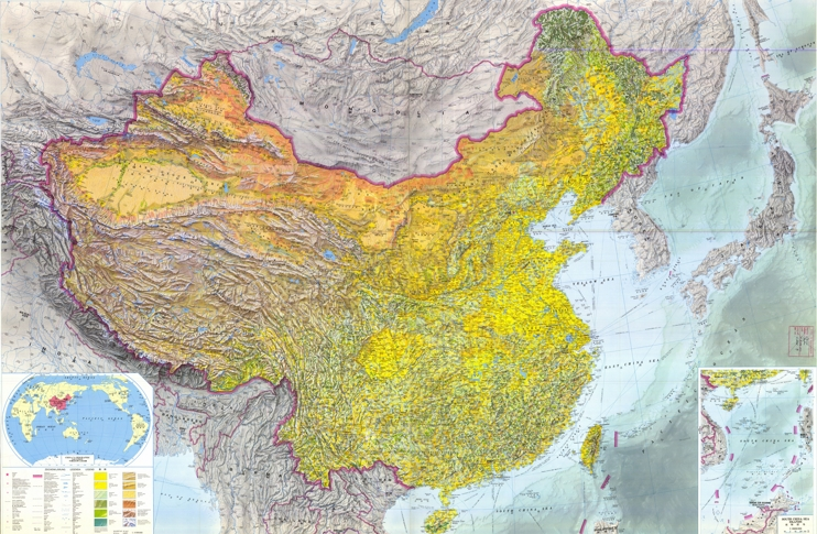 Large detailed topographic map of China