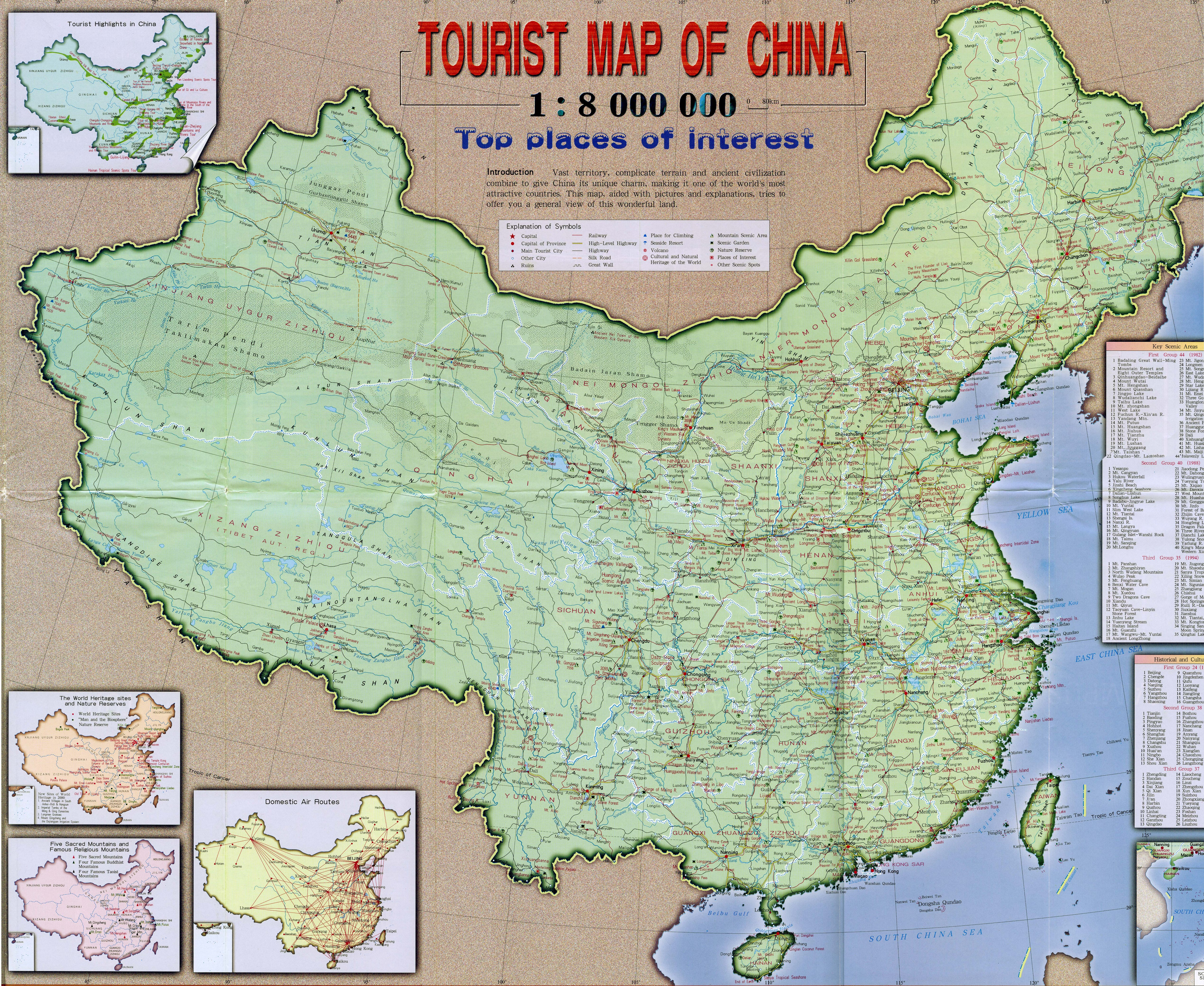 Detailed Map Of China Large detailed tourist map of China