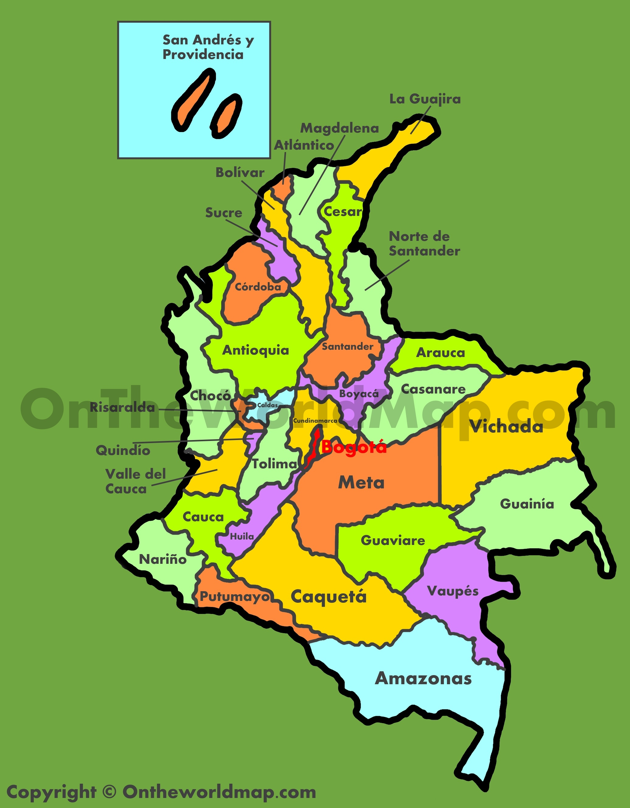 Administrative map of Colombia
