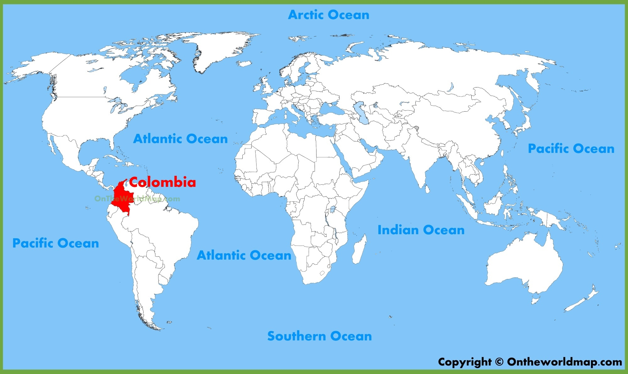 Columbia On World Map Colombia location on the World Map