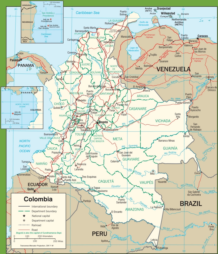 Colombia political map