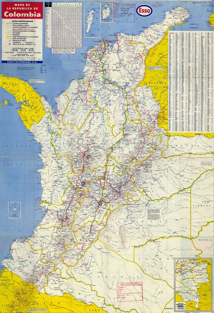 Large detailed road map of Colombia