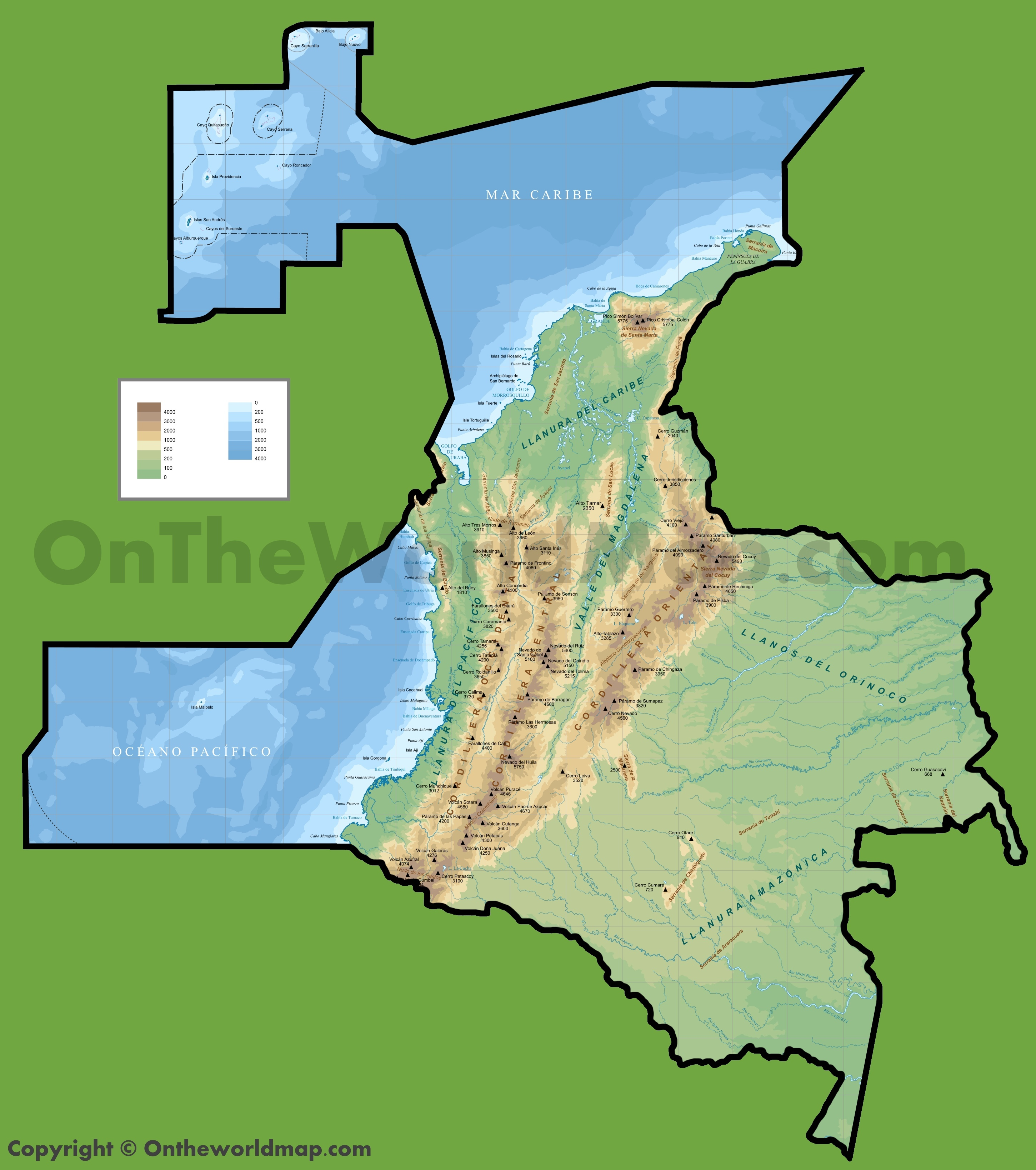 Physical Map Of Colombia - Physical map of colombia