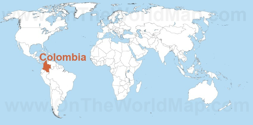 Colombia on the World Map Colombia on the South America Map