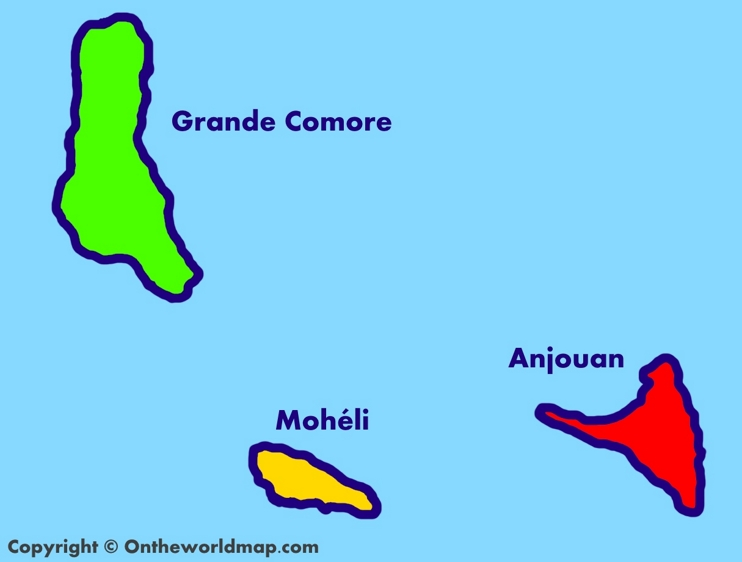 Administrative map of Comoros