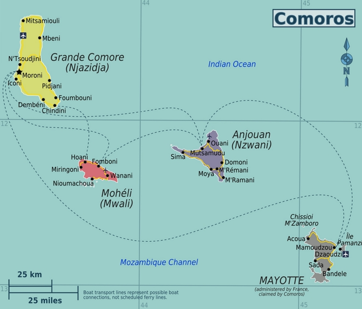Comoros political map