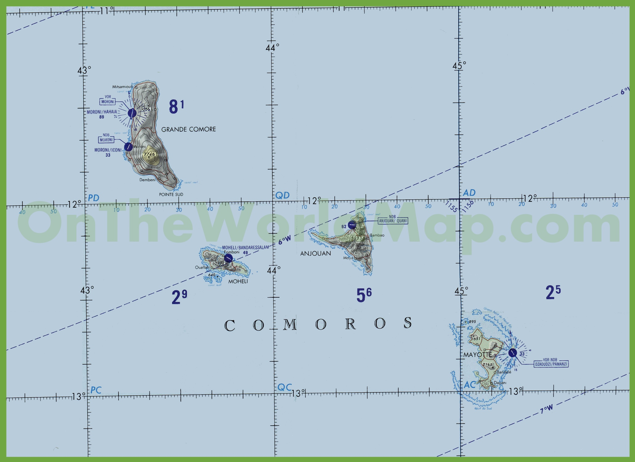 Topographic map of Comoros