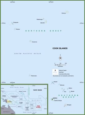 Political map of Cook Islands