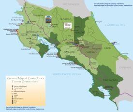 Costa Rica hotel map