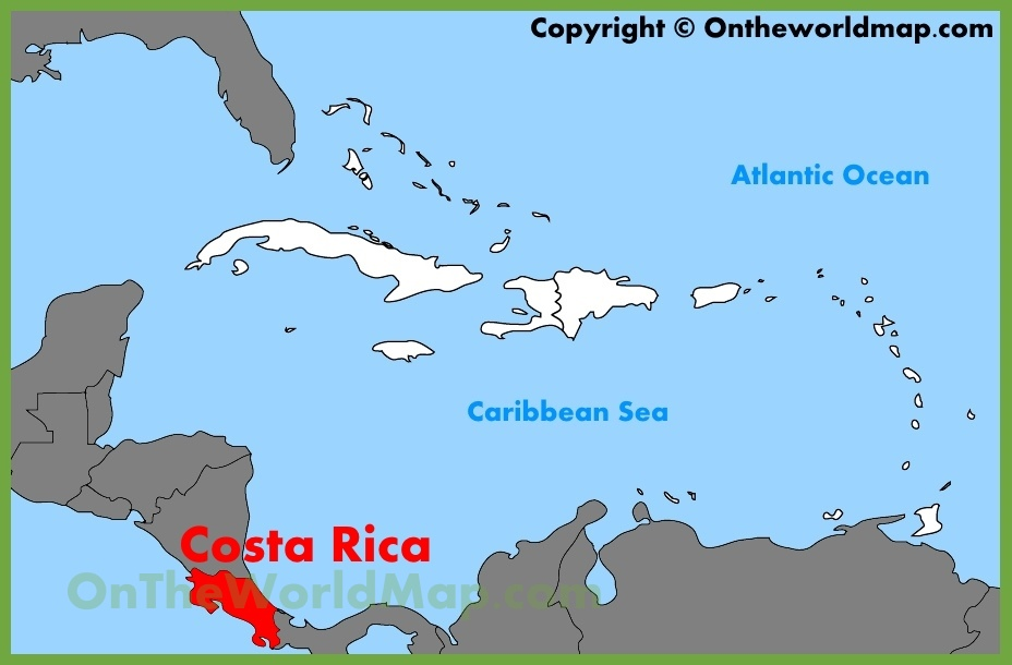 Costa Rica location on the Caribbean map