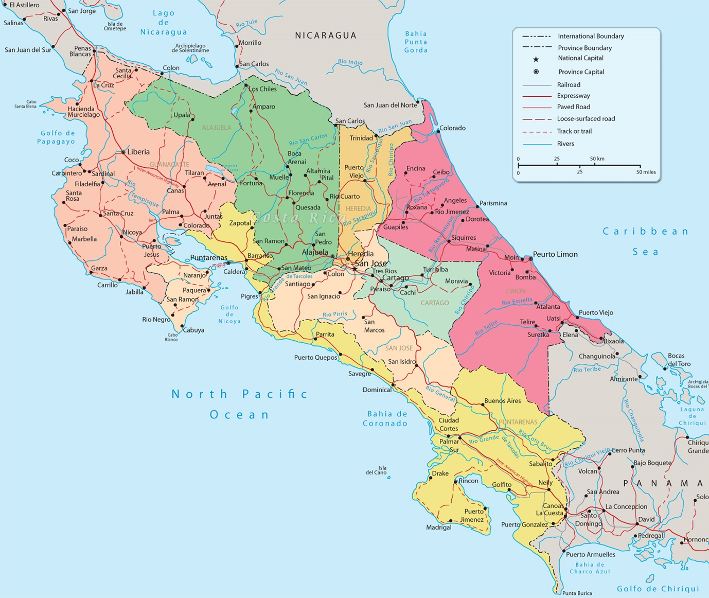 Costa Rica Political Map - Map of costa rica