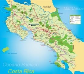 Tourist map of Costa Rica