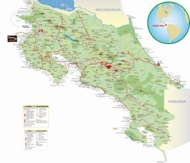 Travel map of Costa Rica