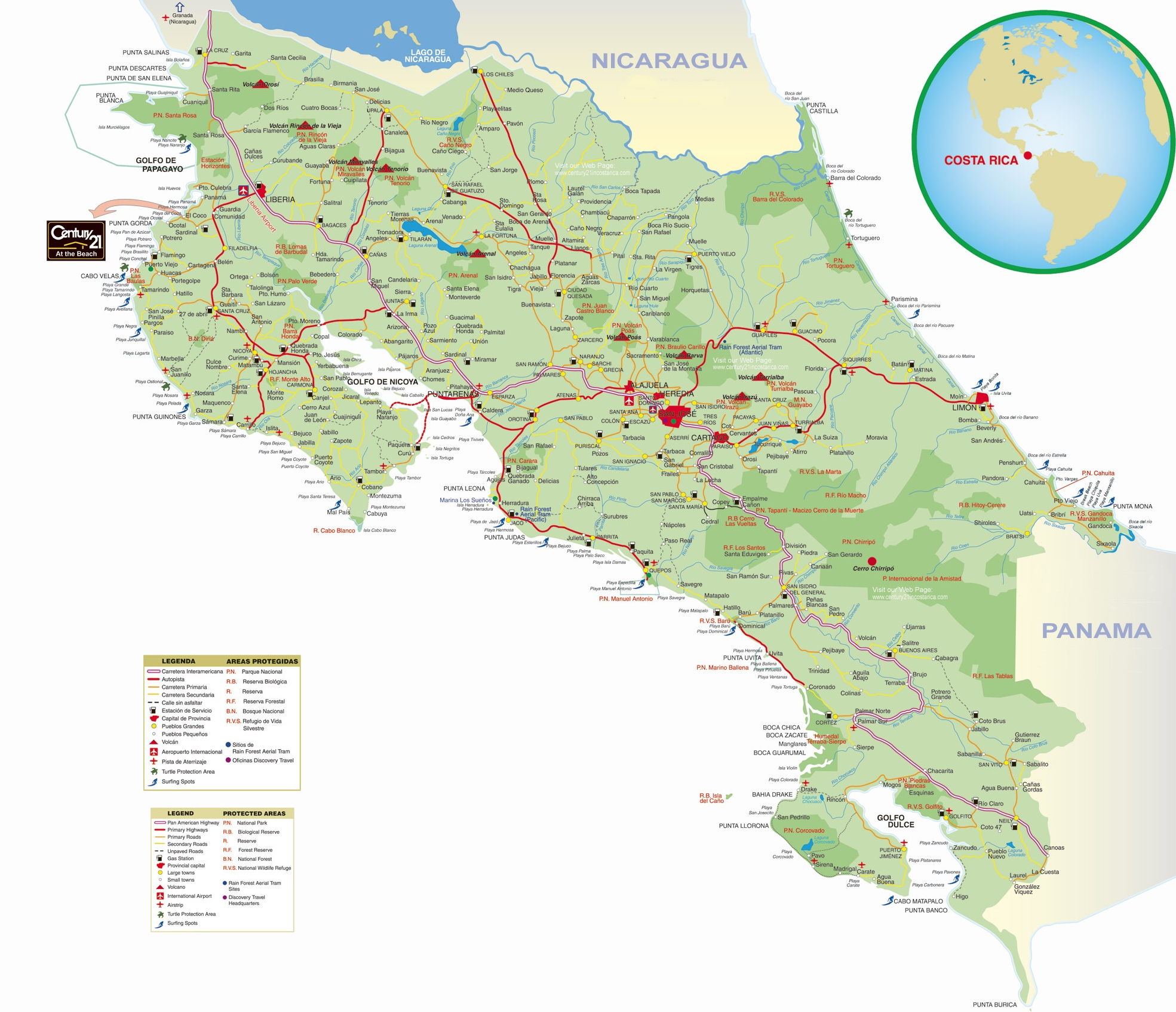 Costa Rica Maps – Tourist Map Of Costa Rica