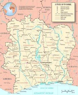 Côte d'Ivoire political map
