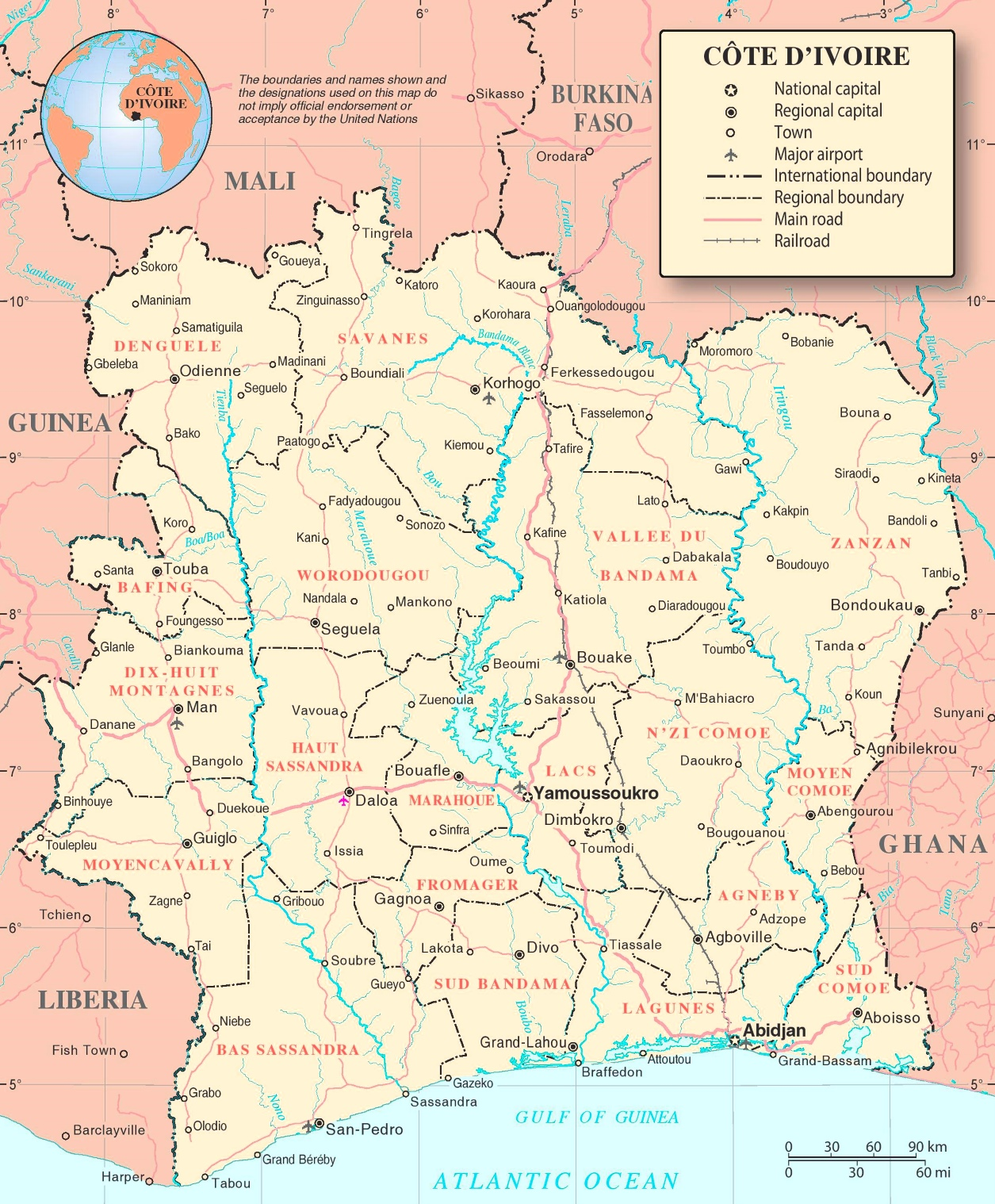 Cte dIvoire political map