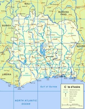 Côte d'Ivoire road map