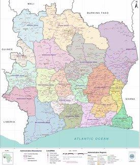 Large detailed map of Côte d'Ivoire